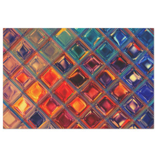 Rainbow Mosaic Tile Bold Bright Primary Faux Gems Tissue Paper