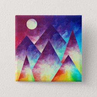 Rainbow Mountain Button, Rainbow Painting Pin