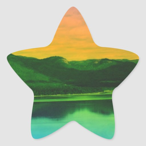 Rainbow Mountains and Coast Water Canada Star Stickers