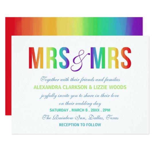 Rainbow Mrs & Mrs | Lesbian Wedding Card