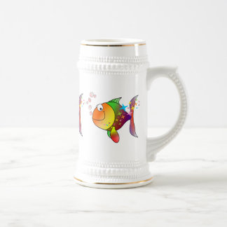 Rainbow multi color pacific ocean tuna beer stein