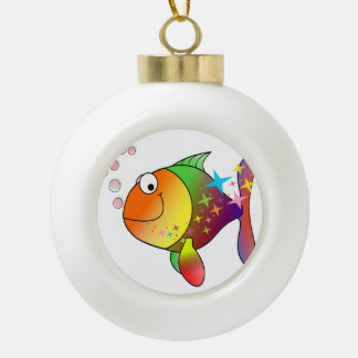 Rainbow multi color pacific ocean tuna fish ceramic ball christmas ornament