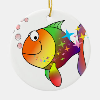Rainbow multi color pacific ocean tuna fish ceramic ornament