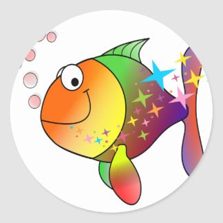 Rainbow multi color pacific ocean tuna fish classic round sticker