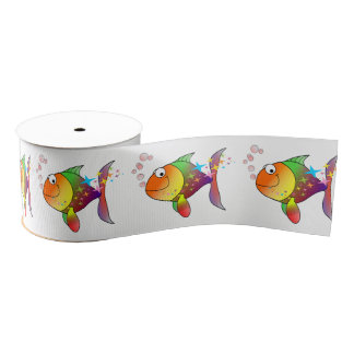 Rainbow multi color pacific ocean tuna fish grosgrain ribbon