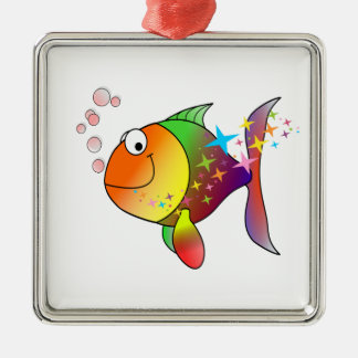Rainbow multi color pacific ocean tuna fish metal ornament