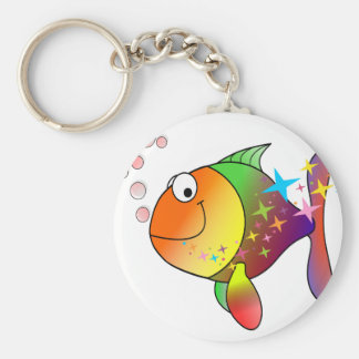 Rainbow multi color pacific ocean tuna keychain