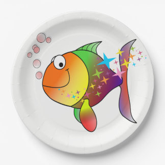 Rainbow multi color pacific ocean tuna paper plate