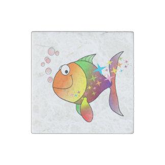 Rainbow multi color pacific ocean tuna stone magnets
