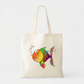 Rainbow multi color pacific ocean tuna tote bag