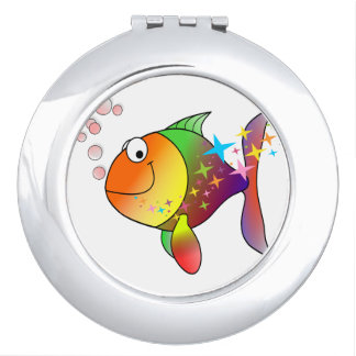Rainbow multi color pacific ocean tuna travel mirror