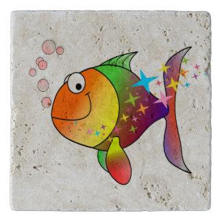 Rainbow multi color pacific ocean tuna trivet