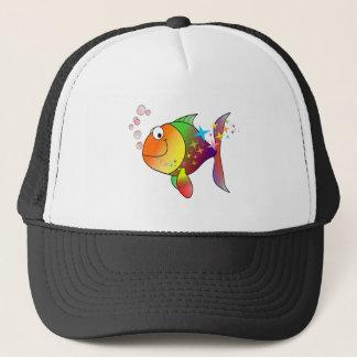 Rainbow multi color pacific ocean tuna trucker hat