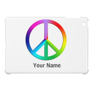 Rainbow multi color peace symbol cover for the iPad mini