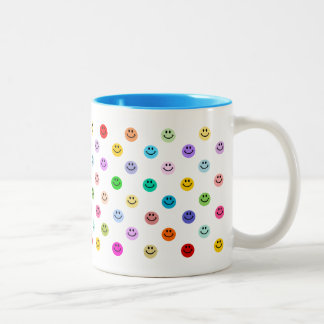 Rainbow Multicolor Smiley Face Pattern Two-Tone Coffee Mug