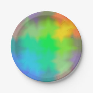Rainbow Multicolored Watercolor Abstract Tie Dye Paper Plate