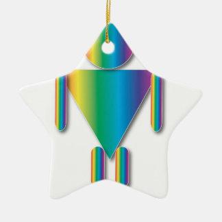 Rainbow Muscle Man Ceramic Star Ornament