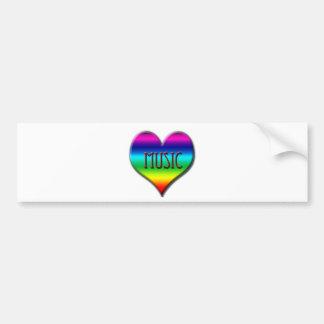 Rainbow Music Heart for Music Teachers Gifts Bumper Stickers