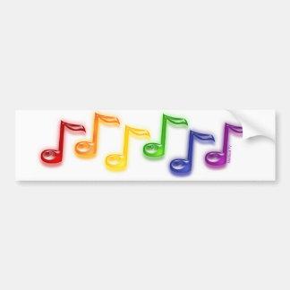 Rainbow Music Notes Bumper Sticker