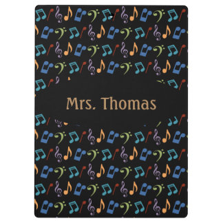Rainbow Music Notes Clipboard (Dark)-Personalized