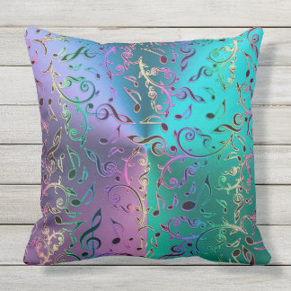 Rainbow Music Notes Pattern Throw Pillow