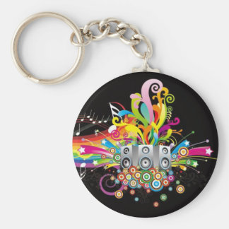 rainbow music theme keychain