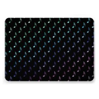"""Rainbow Musical Notes Metallic Faux Green Blue 5"""" X 7"""" Invitation Card"""
