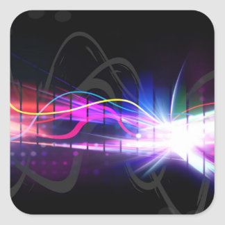 Rainbow Musical Wave Form Square Sticker