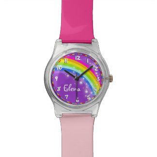 Rainbow named purple pink multi-coloured watch