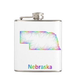 Rainbow Nebraska map Flasks