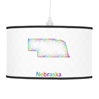 Rainbow Nebraska map Hanging Pendant Lamps