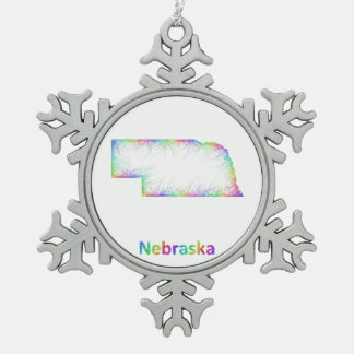 Rainbow Nebraska map Pewter Snowflake Ornament