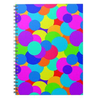 Rainbow Neon Bright Colors Circles Bubbles Teen Notebook