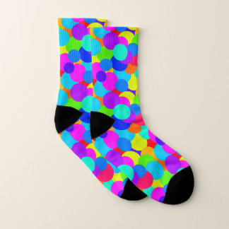 Rainbow Neon Bright Colors Circles Bubbles Teen Socks