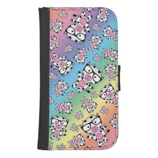 Rainbow nerd cow pattern phone wallet case