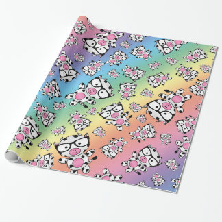 Rainbow nerd cow pattern wrapping paper
