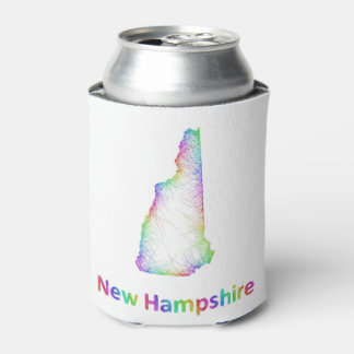Rainbow New Hampshire map Can Cooler