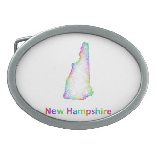 Rainbow New Hampshire map Oval Belt Buckle