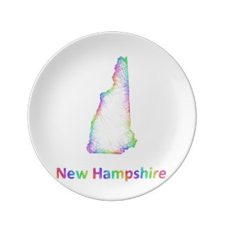 Rainbow New Hampshire map Porcelain Plate
