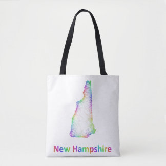 Rainbow New Hampshire map Tote Bag