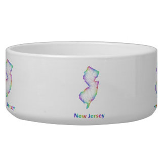 Rainbow New Jersey map Dog Water Bowls