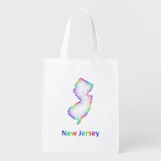 Rainbow New Jersey map Reusable Grocery Bag