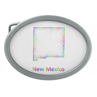 Rainbow New Mexico map Belt Buckles