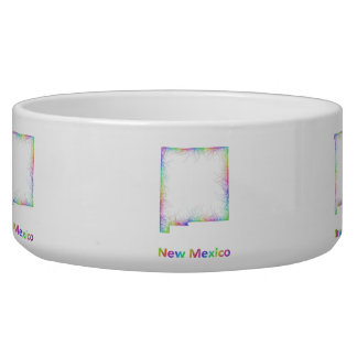 Rainbow New Mexico map Dog Food Bowls