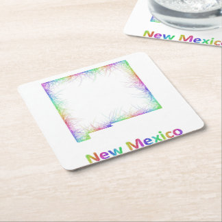 Rainbow New Mexico map Square Paper Coaster