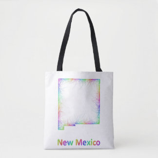 Rainbow New Mexico map Tote Bag