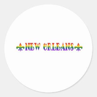 Rainbow New Orleans Round Sticker