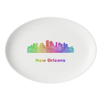 Rainbow New Orleans skyline Porcelain Serving Platter