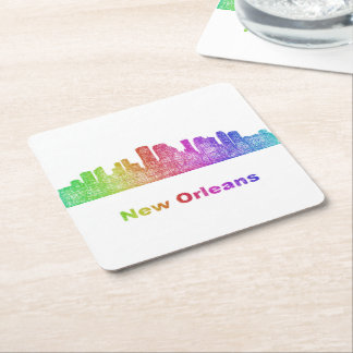 Rainbow New Orleans skyline Square Paper Coaster