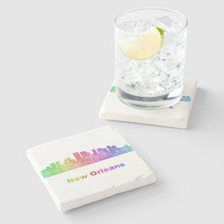 Rainbow New Orleans skyline Stone Beverage Coaster